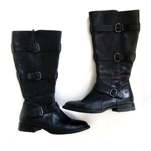 Born Black Knee High Buckle Detail Low Heel Boots